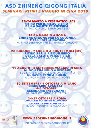 Seminari in Italia e viaggio in Cina 2019