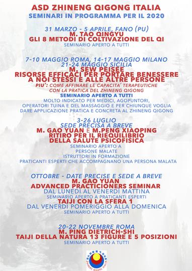 SEMINARI E RITIRI ZHINENG QIGONG ITALIA IN PROGRAMMA PER IL 2020