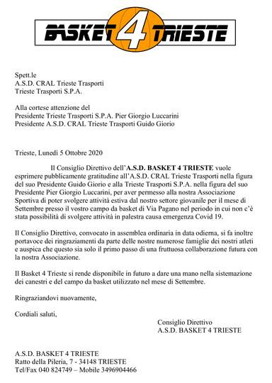 Ringraziamenti ASD Cral Trieste Trasporti – ASD Baket 4 Trieste